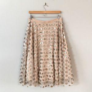 Eva Franco Anthropologie Shimmer Dot Midi Skirt